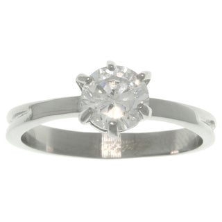 Stainless Steel CZ Solitaire Ring - White