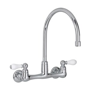 American Standard Heritage 2-Handle Wall-Mount Kitchen Faucet in Polished Chrome with Gooseneck Spou