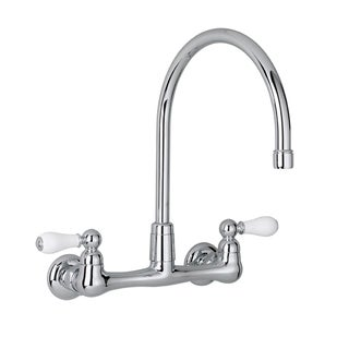 American Standard Heritage 2 Handle Wall Mount Kitchen Faucet In Polished  Chrome With Gooseneck