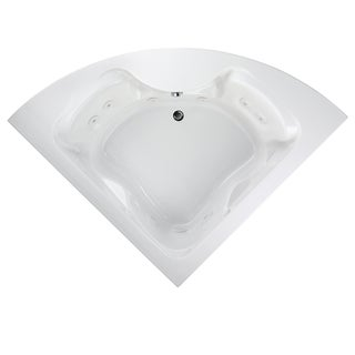 American Standard Cadet 5-Foot Corner EverClean White Whirlpool Tub with Center Drain