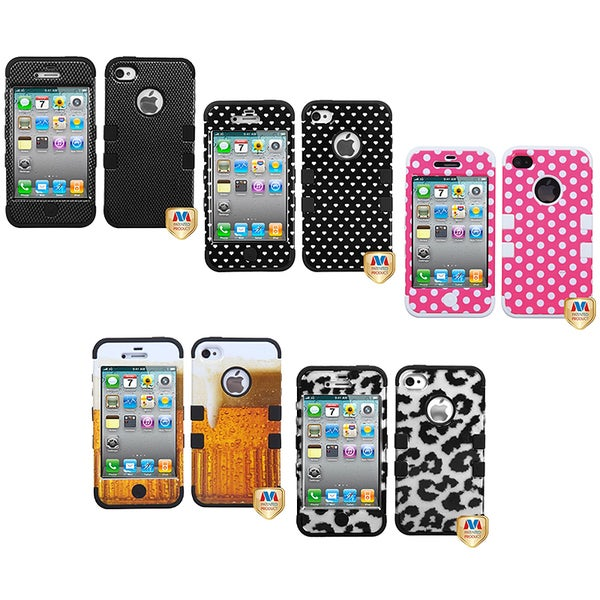 INSTEN Carbon Fiber Hybrid Phone Case Cover for Apple iPhone 4/ 4S