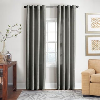Grand Luxe Grey All Linen Gotham Grommet Window Panel