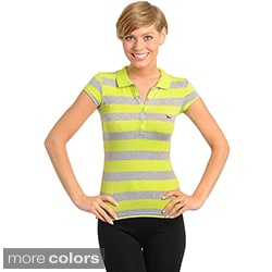 Stanzino Women's Cap Sleeve Striped Collared Top