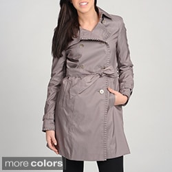 Ivanka Trump Women's Double-Breasted with Pleated Detail Trim Trench