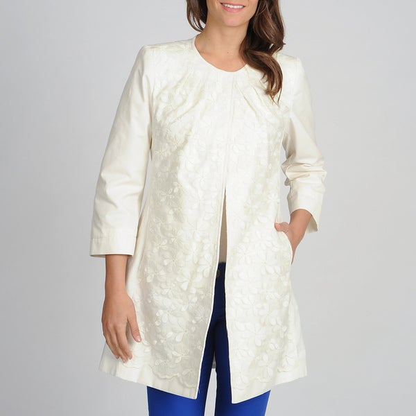 Vince Camuto Women's Embroidered Spring Coat