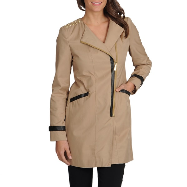 Vince Camuto Women's Faux Leather Trim Khaki Trench