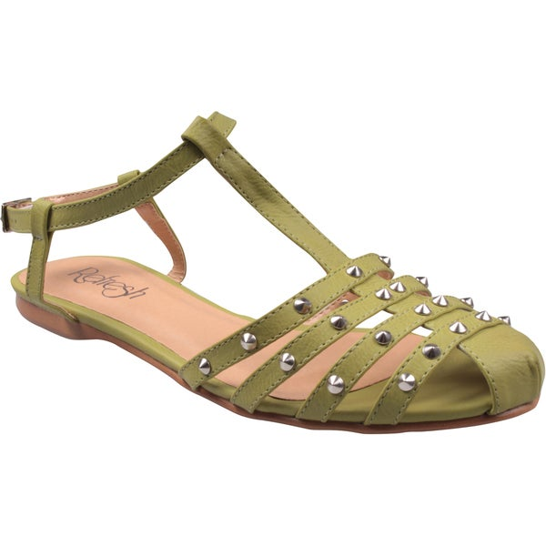 Refresh by Beston Women's 'Bunny' T-Strap Green Gladiator Sandals