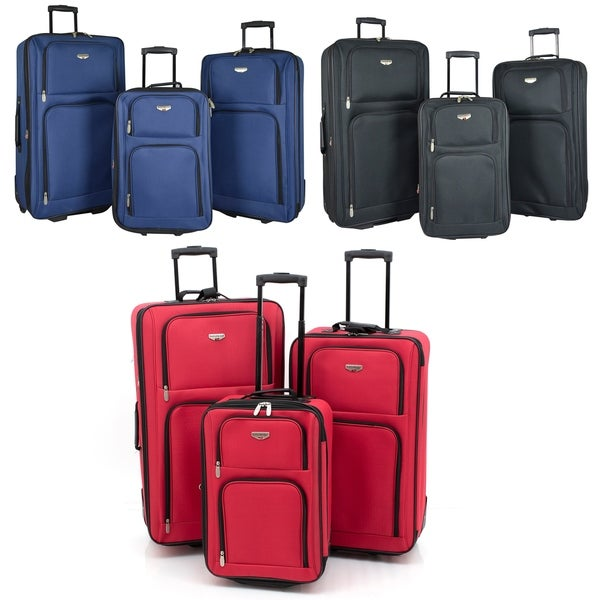 "Traveler's Club Genova Collection 3-piece Rolling Expandable Luggage Set - 29""/26""/20"". Opens flyout."