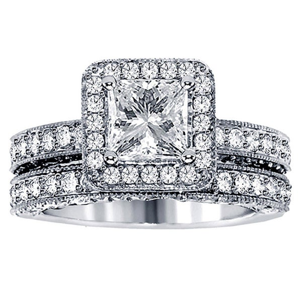 3ct TDW Halo Diamond Bridal Ring Set