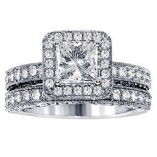 14k White Gold 3ct TDW Halo Diamond Bridal Ring Set