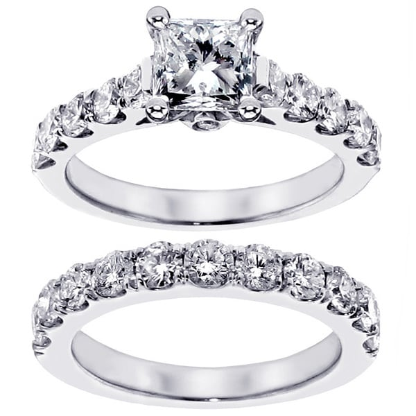 14k White Gold 3ct TDW Clarity Enhanced Princess Diamond Engagement Ring (F-G, SI1-SI2)