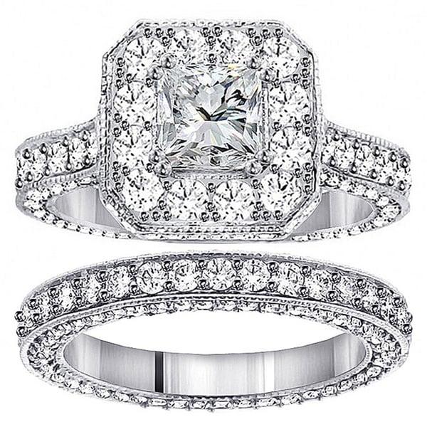 14k White Gold 5ct TDW Princess Diamond Bridal Ring Set (F-G, SI1-SI2)