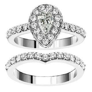 14k White Gold 2 1/2ct TDW Pear Shape Diamond Bridal Ring Set