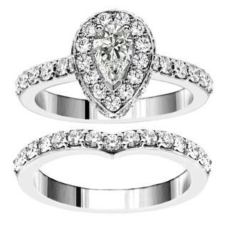 14k White Gold 2 1/2ct TDW Pear Shape Diamond Bridal Ring Set