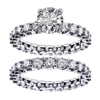White Gold 4 5ct TDW Round Diamond Clarity Enhanced Bridal Ring Set