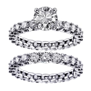 White Gold 4.5ct TDW Round Diamond Clarity Enhanced Bridal Ring Set (G-H, SI1-SI2)