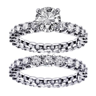 White Gold 4.5ct TDW Round Diamond Clarity Enhanced Bridal Ring Set