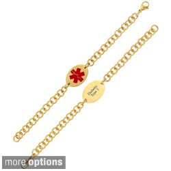 Goldplated Stainless Steel Oval Medical ID Bracelet (Pre-engraved)