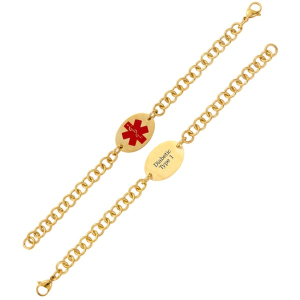 Shop Goldplated Stainless Steel Oval Medical ID Bracelet