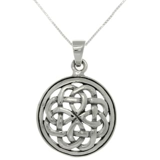 Carolina Glamour Collection Silver Eternal Celtic Knot Pendant on 18-inch Necklace