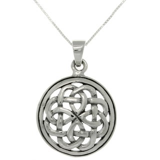 Silver Eternal Celtic Knot Pendant on 18-inch Necklace