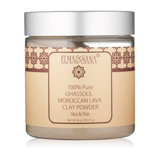 Elma & Sana Moroccan Ghassoul Mineral Clay powder Mask for skin & Hair 8-ounce Powder