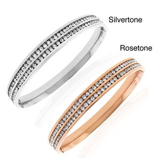 Stainless Steel Channel-set Cubic Zirconia Hinged Bangle Bracelet
