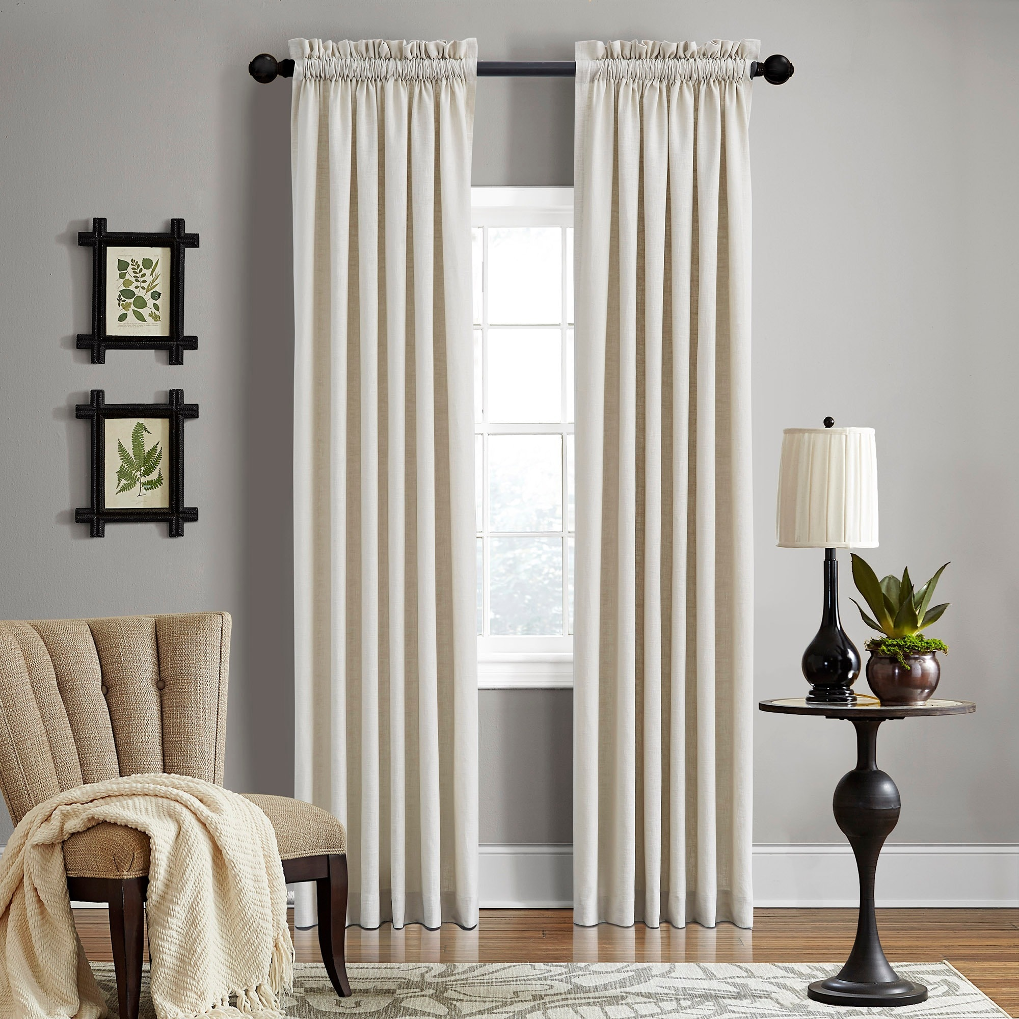 Grand Luxe Linen Gotham Khaki Rod Pocket Curtain Panel (8...