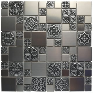 SomerTile 11.75x11.75-inch Anvil Versailles Square Stainless Steel Over Porcelain Mosaic Wall Tile (