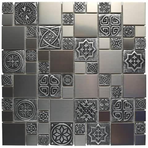 SomerTile 11.75x11.75-inch Anvil Versailles Stainless Steel Over Ceramic Mosaic Wall Tile (10 tiles/9.79 sqft.)