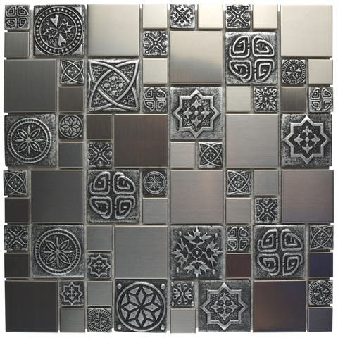 SomerTile 11.75x11.75-inch Anvil Versailles Stainless Steel Over Ceramic Mosaic Wall Tile