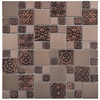 SomerTile 11.75x11.75-inch Anvil Copper Versailles Square Stainless Steel Over Porcelain Mosaic Wall
