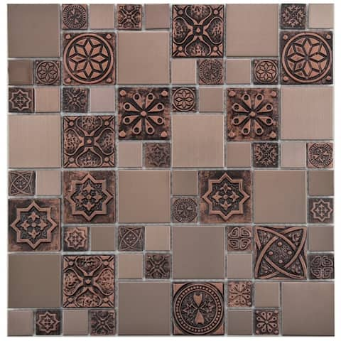 SomerTile 11.75x11.75-inch Anvil Copper Versailles Stainless Steel Over Ceramic Mosaic Wall Tile