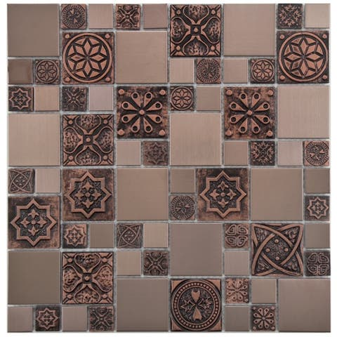 SomerTile 11.75x11.75-inch Anvil Copper Versailles Stainless Steel Over Ceramic Mosaic Wall Tile (10 tiles/9.79 sqft.)