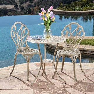 Nassau Sand Bistro Set by Christopher Knight Home & Iron Outdoor Bistro Sets For Less   Overstock