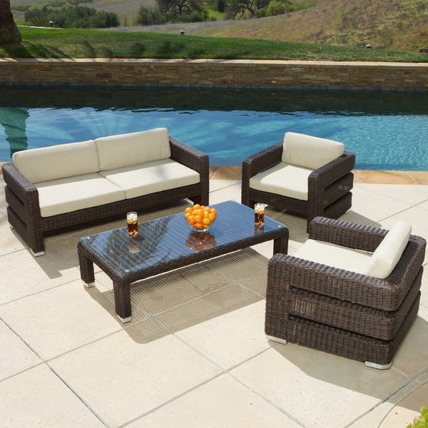 Christopher Knight Home Sonoma 4-piece Wicker Outdoor Sofa Set
