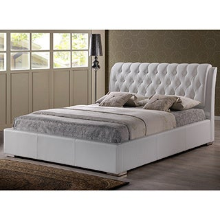 baxton studio bianca modern and contemporary faux leather upholstered full sized platform bed with tufted