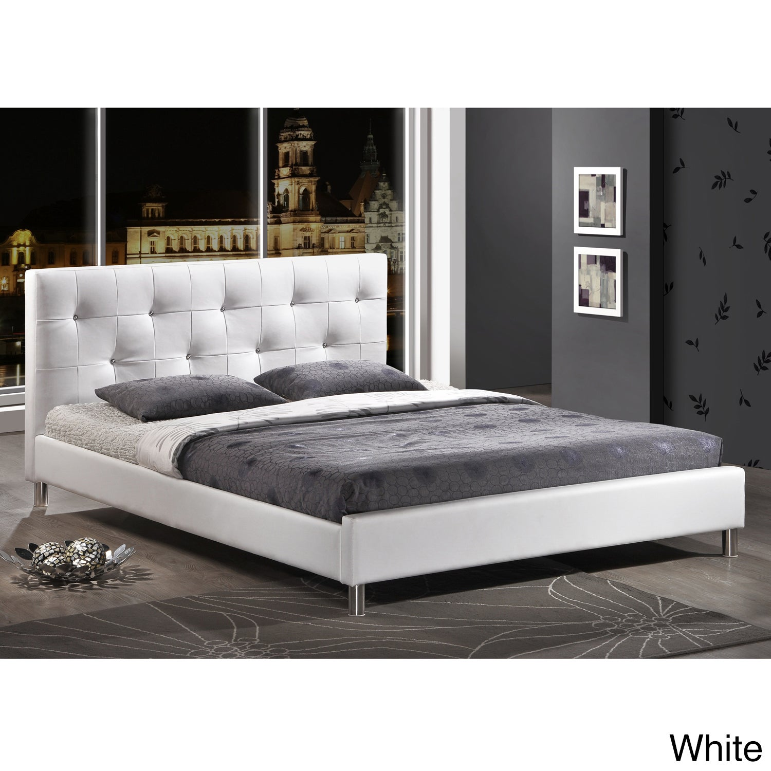 Barbara Modern Full-size Crystal Button Tufted Bed