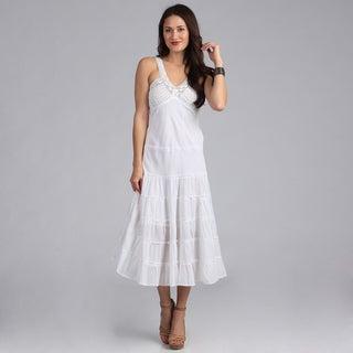 Sasha Collection Women's White Crochet Bustline Maxi Dress