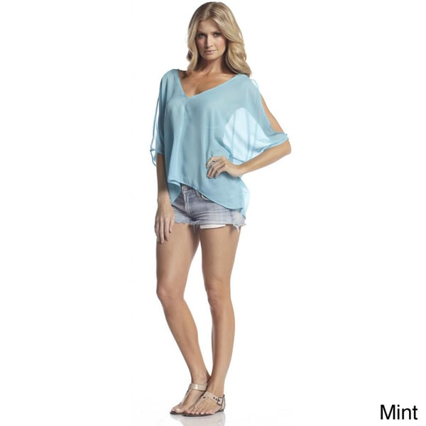 Elan Women's Chiffon Slit Sleeve Poncho Top