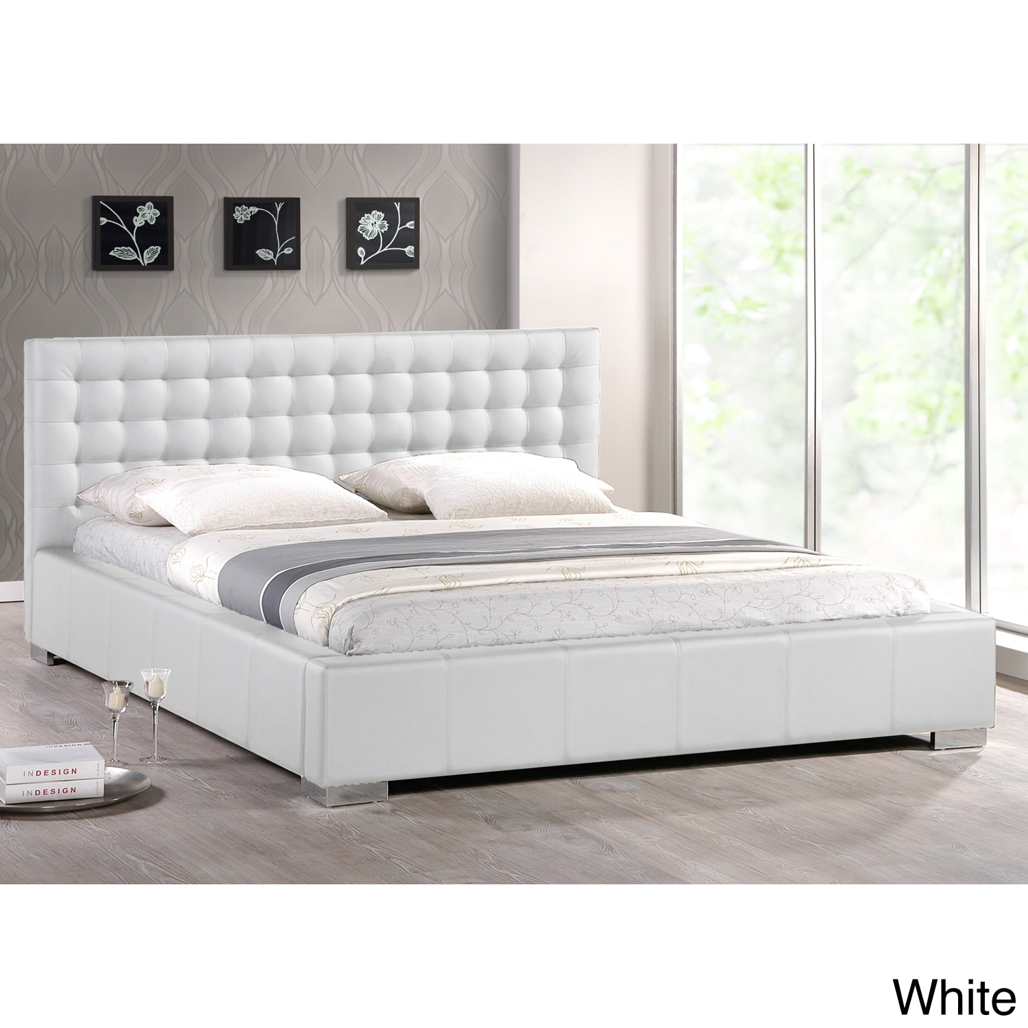 Baxton Studio Madison White Modern Full Size Bed With Upholstered Headboard