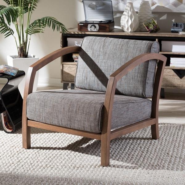 Mid Century Grey Fabric Chair by Baxton Studio