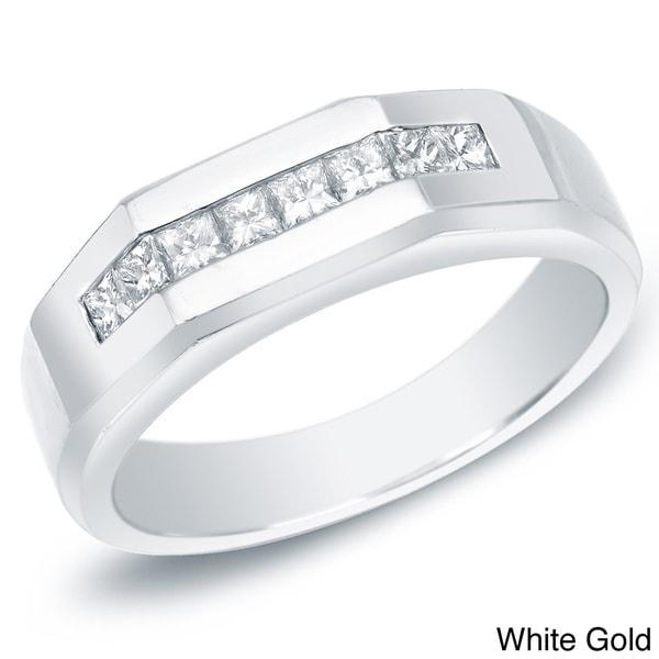 Auriya 14k Gold Men's 7/8ct TDW Princess Diamond Ring