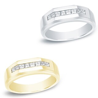 Men's 14k Gold 7/8ct TDW Modern Channel Set Diamond Wedding Band by Auriya