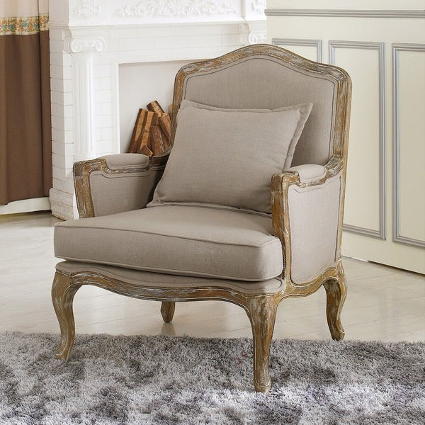 French Country Biege Fabric Chair