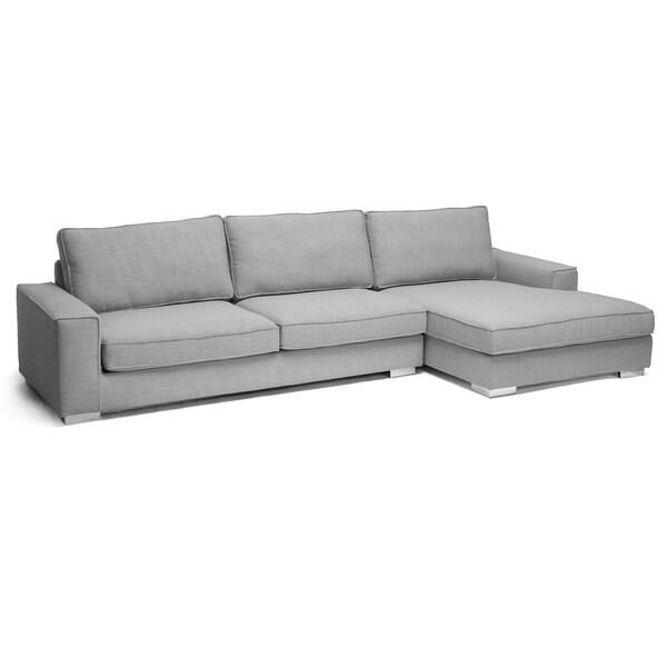 Sectional Couch Light Gray: Baxton Studio Brigitte Light Gray Modern Sectional Sofa