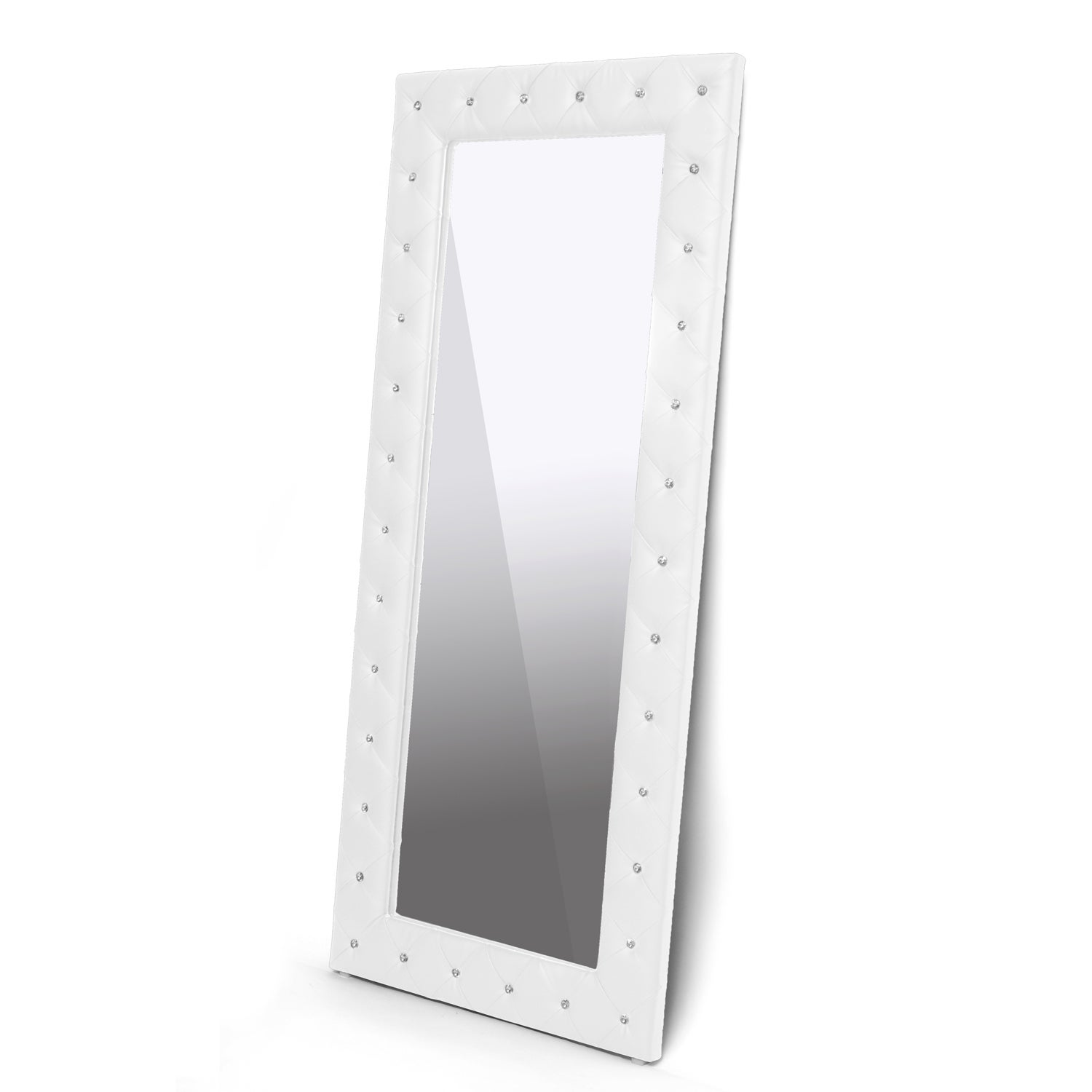 Stella Crystal Tufted Modern Floor Mirror - Free Shipping On Orders ...