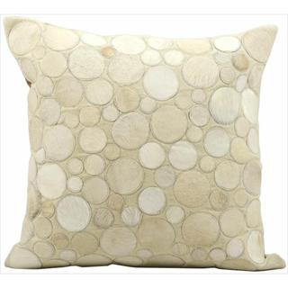 Mina Victory Natural Leather and Hide Circle Beige Throw Pillow (20-inch x 20-inch) by Nourison