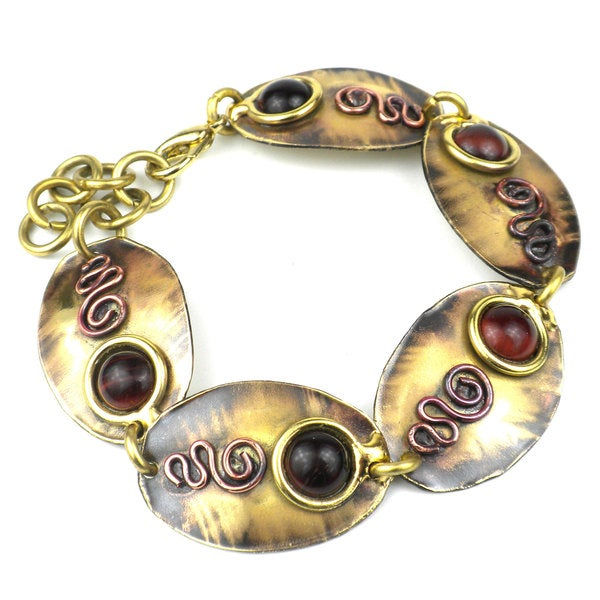 Handmade Earthy Red Tiger Eye Oval Brass Link Bracelet (South Africa)
