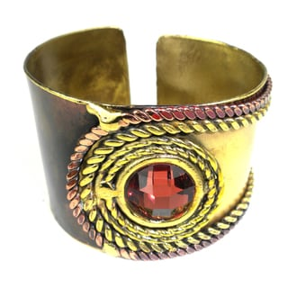 Handmade Rope and Rose Stone Brass Cuff (South Africa)